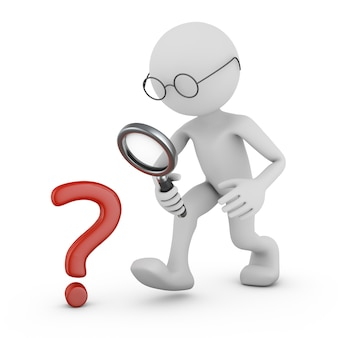 Man with a magnifying glass and a question mark