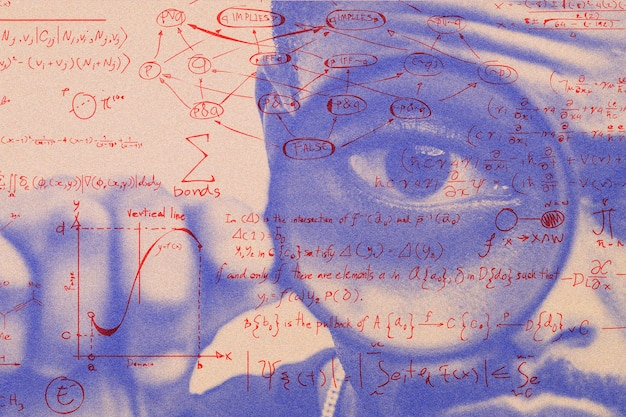 Uomo con lente d'ingrandimento con media remixata effetto risograph