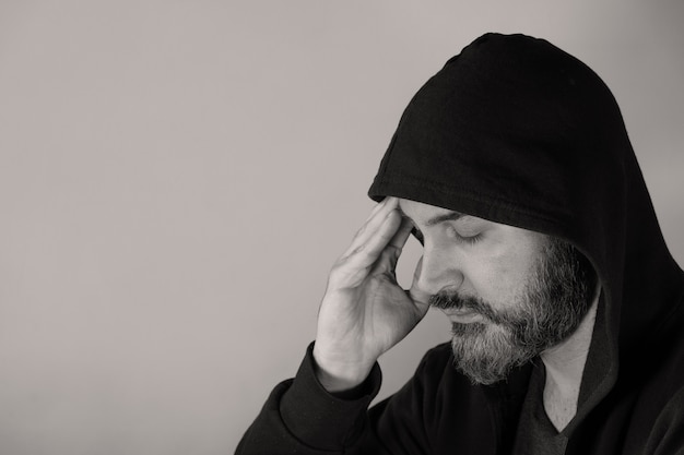 Man with mental health affected by social isolation