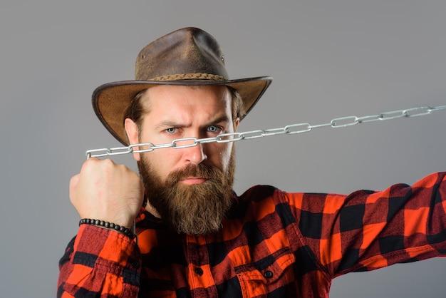 金属チェーンひげを生やした男チェーン奴隷金属チェーン深刻なひげを生やした男依存の自由を持つ男