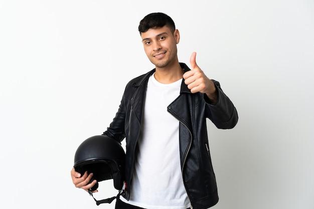 Man with a motorcycle helmet in studio