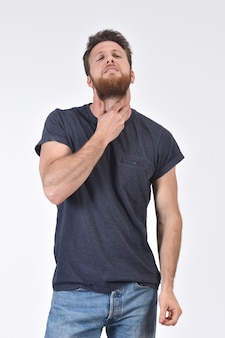 Man with neck on white