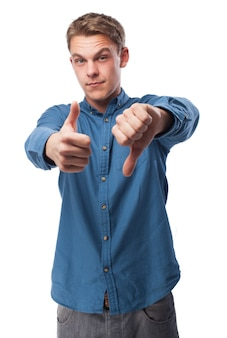 Man with one thumb up and one down