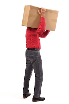 Man with package on white background