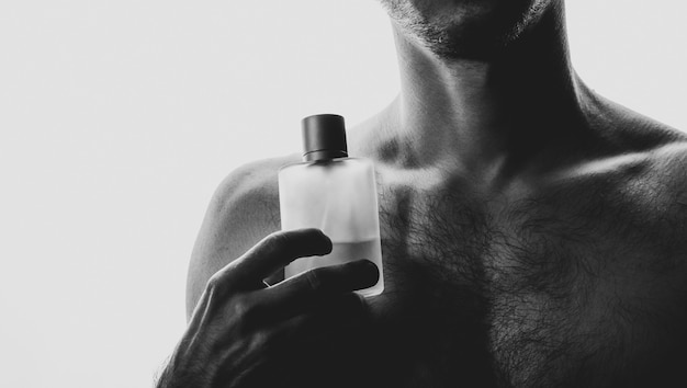Man with perfume in black and white