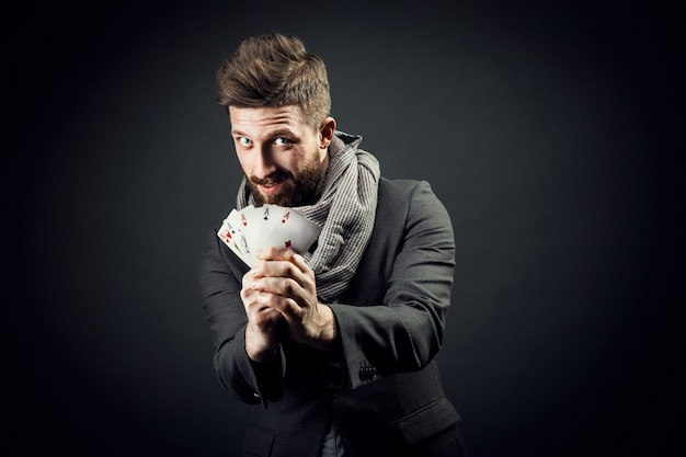 Man with playing cards