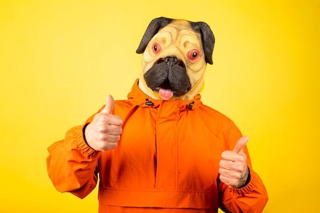 承認のジェスチャーで黄色の壁に隔離されたパグ犬のマスクを持つ男。