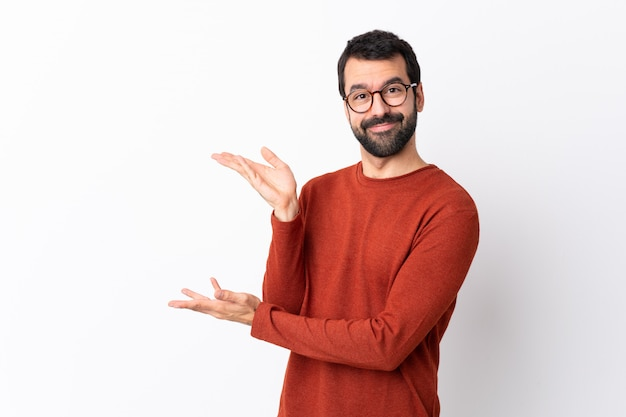 Man with red sweater posing
