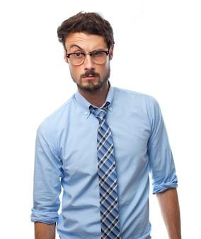 Man with shirt with raised eyebrow