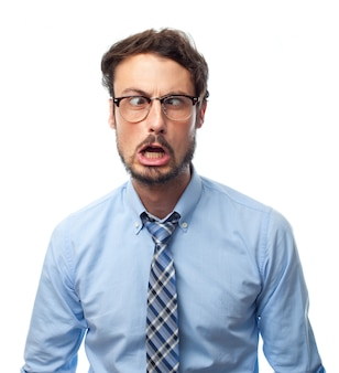 Man with shirt with rare face and glasses to see