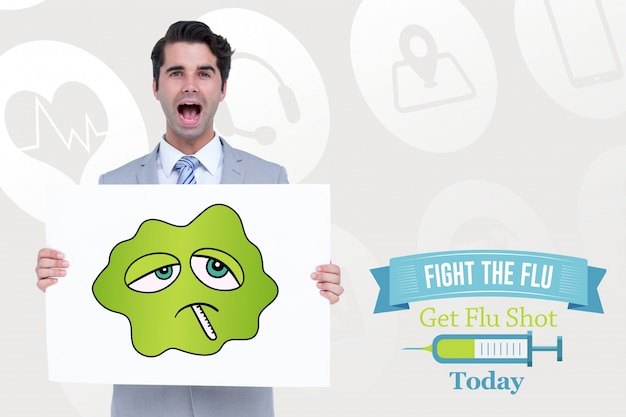 Man with sign to prevent the flu