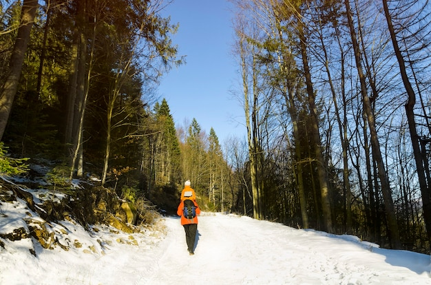 Человек с сыном на плечах идет по дороге в заснеженном лесу. зима. день.