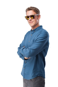 Man with sunglasses dancing