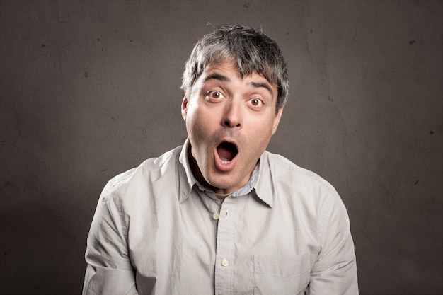Man with surprised expression