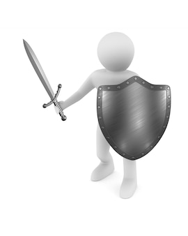 Man with sword and shield on white.