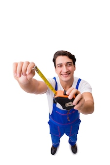 Man with tape measure isolated