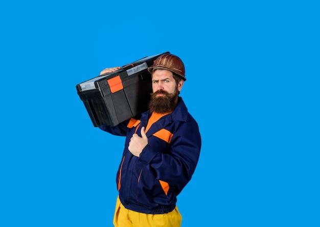 수리 수리 핸디 개념 빌더 남자 운반 도구에 대 한 도구를 엄지손가락을 포기 하는 도구 상자를 가진 남자