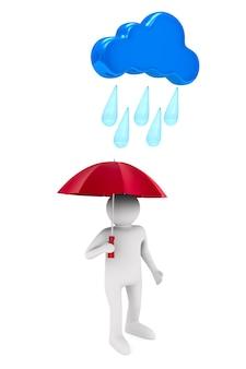 白いスペースに傘を持つ男。分離された3dイラスト