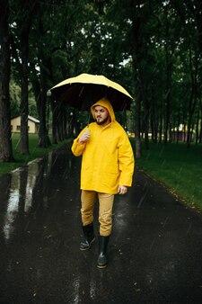 雨の日に夏の公園を歩いている傘を持つ男。レインケープとゴム長靴の男性、路地の雨天