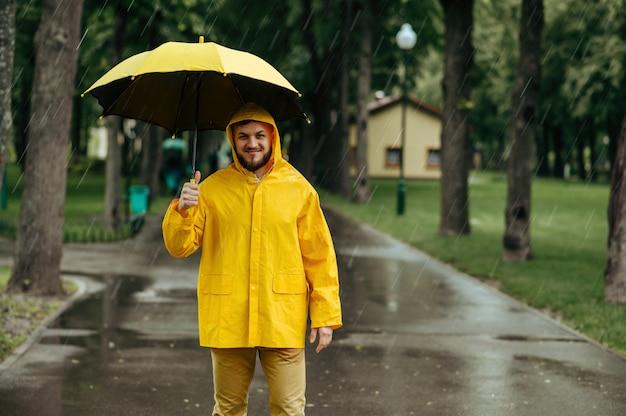 雨の日に夏の公園を歩いている傘を持つ男。レインケープとゴム長靴、雨天の男性