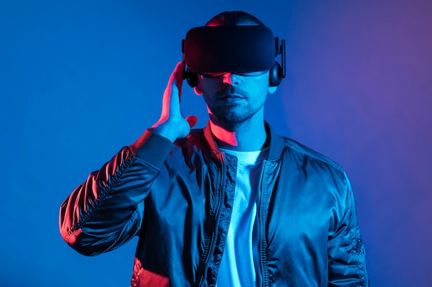 Man with vr glasses device