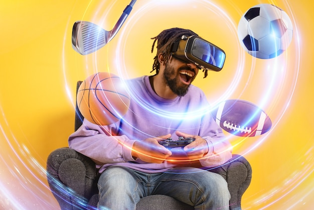 Man with vr glasses play with a virtual videogame