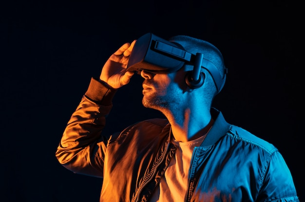 Man with vr glasses technology