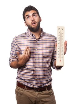 Man with warmth and a thermometer
