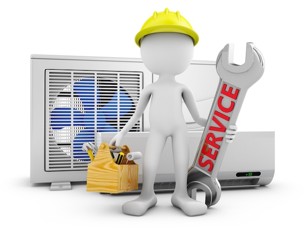 Man with a wrench on the background of the air conditioner.