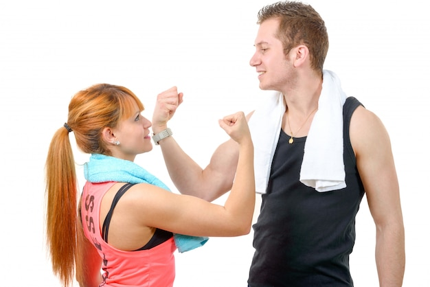 Man and woman after fitness exercise
