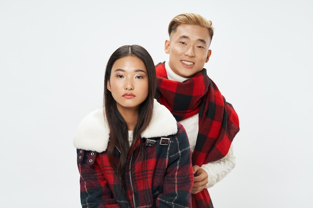 Man and woman asian appearance lifestyle communication family hug