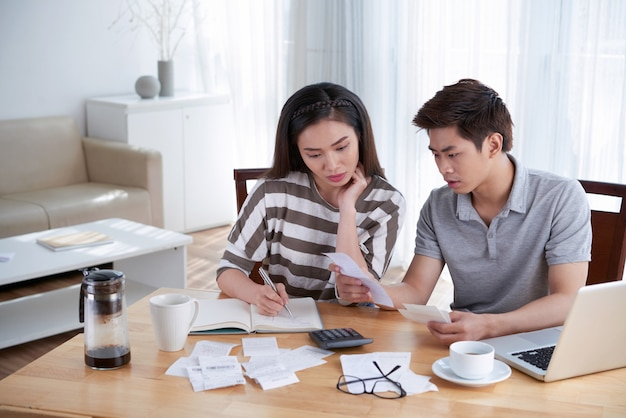 Man and woman calculating domestic budget at home