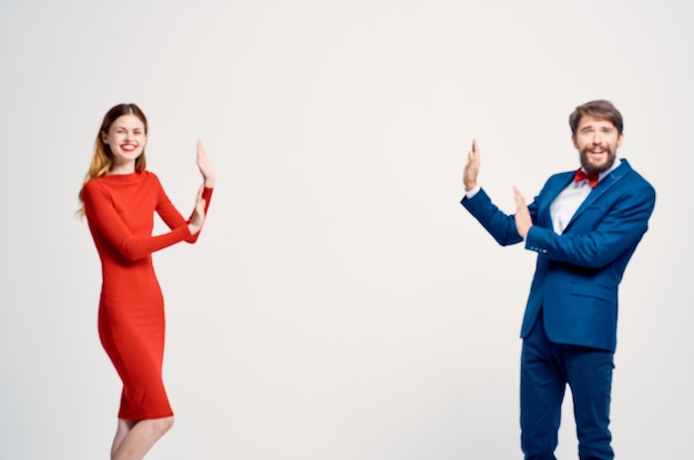 Man and woman communication fashion isolated background