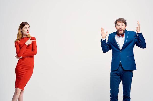 Man and woman communication fashion studio
