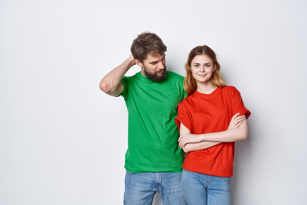 Man and woman communication fun together friendship light background