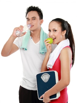 Man and woman concept of diet