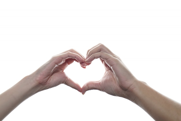 Man and woman hands making sign of love