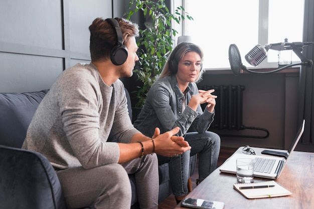 Man and woman interview