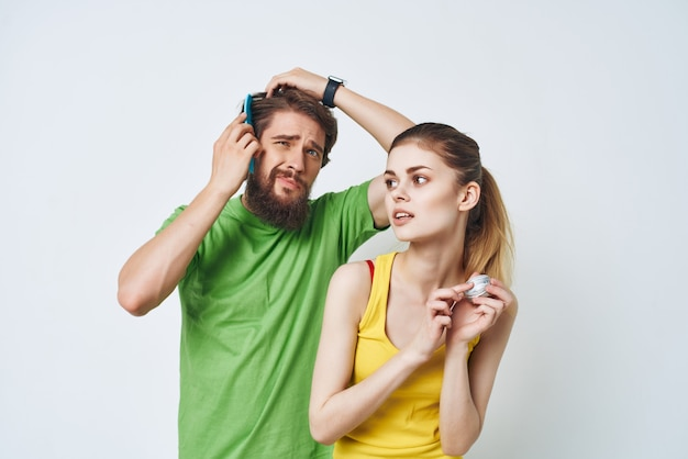 Man and woman morning in bathroom hygiene facial care. high quality photo