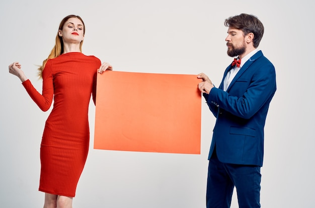Man and woman red poppy poster advertising discount