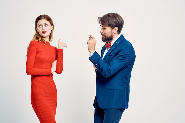 Man and woman standing side by side communication friendship together elegant style