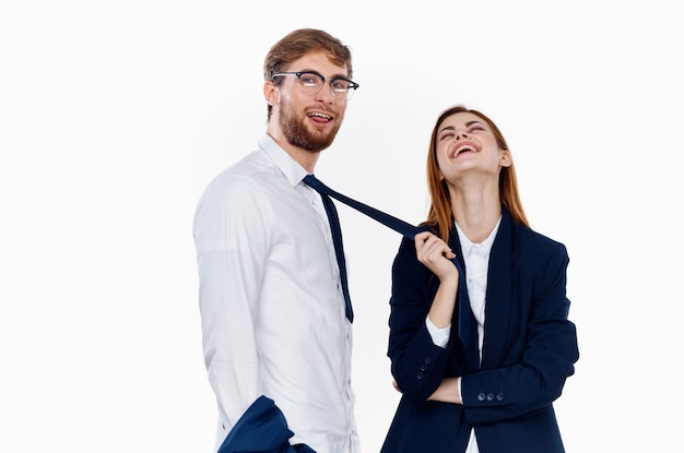Man and woman in suits work colleague communication entrepreneur