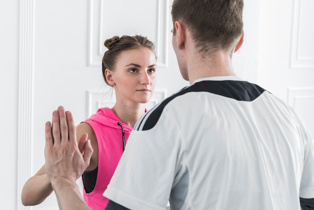 Man and woman touching hands