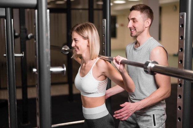 Man and woman training together
