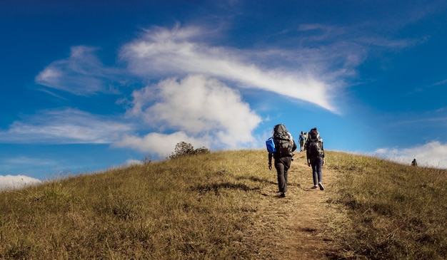 Man and woman traveler with backpack hiking