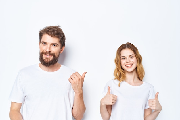 Man and woman wearing white tshirts fashion casual wear friendship together