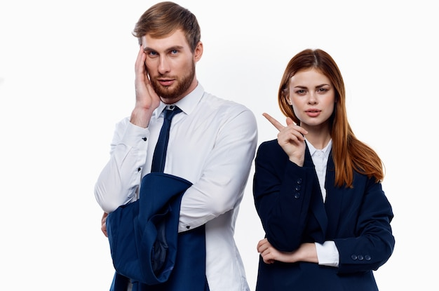 Man and woman work colleagues officials professional office