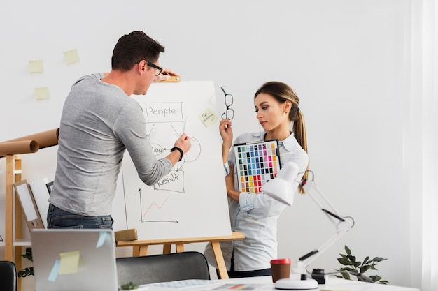 Man and woman working on a diagram