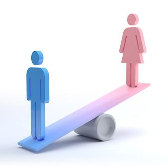 Мужчина и женщина пиктограмма. концепция гендерного равенства. 3d рендеринг