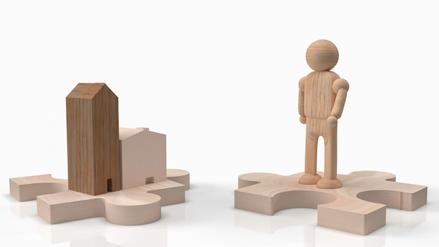 The man wood figure and home wood on jigsaw for car or transport content 3d rendering